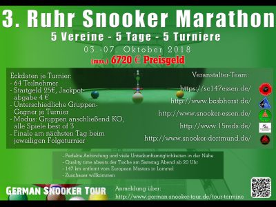 Ergebnisse Ruhr-Snooker Marathon